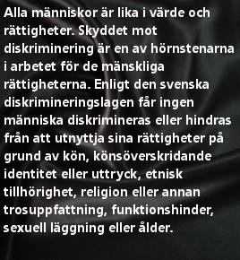 Mänskliga Rättigheter. Rätten att inte bli diskriminerad